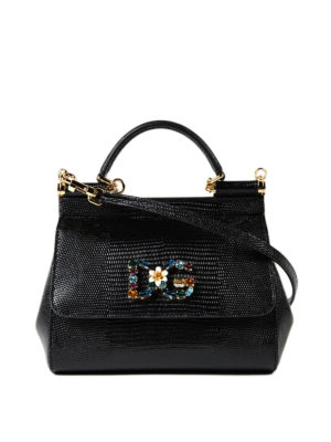 Dolce & Gabbana: cross body bags - Sicily iguana print small handbag