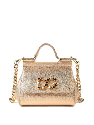 Dolce & Gabbana: cross body bags - Sicily Mini leather clutch