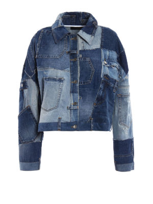 Dolce & Gabbana: denim jacket - Denim patched oversize jacket