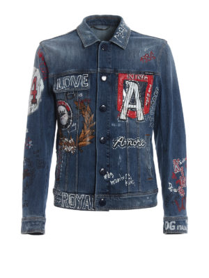 DOLCE & GABBANA: giacche denim - Giacca in denim patch e stampe DG Love