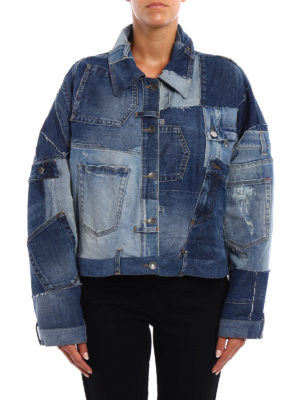 Dolce & Gabbana: denim jacket online - Denim patched oversize jacket
