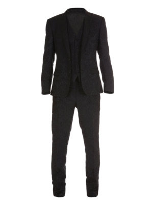 Dolce & Gabbana: dinner suits - Floral jacquard three-piece suit