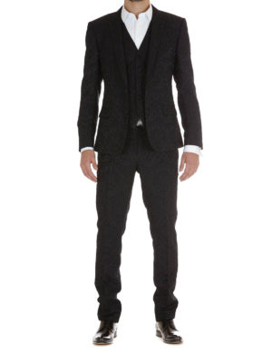Dolce & Gabbana: dinner suits online - Floral jacquard three-piece suit