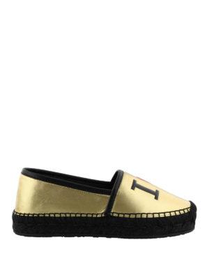 Dolce & Gabbana: espadrilles - Gold-tone leather logo espadrilles
