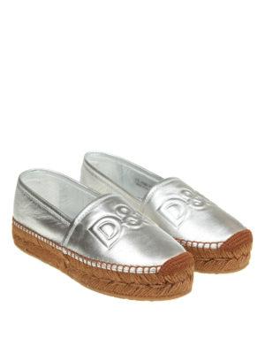 Dolce & Gabbana: espadrilles online - Embossed logo leather espadrilles