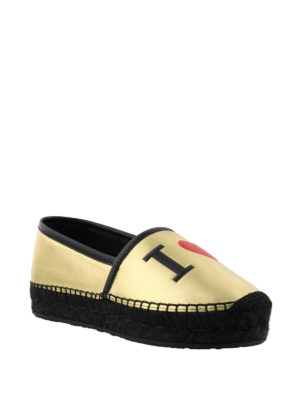 Dolce & Gabbana: espadrilles online - Gold-tone leather logo espadrilles