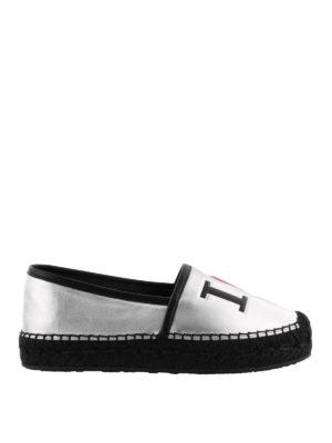 Dolce & Gabbana: espadrilles - Silver leather logo espadrilles