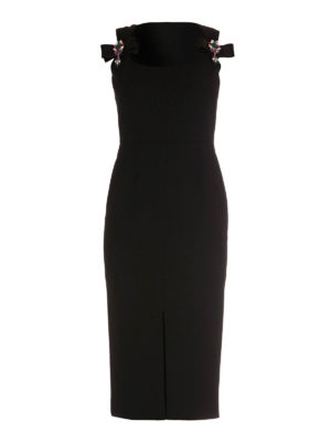 Dolce & Gabbana: evening dresses - Jewel bows detail wool sheath dress
