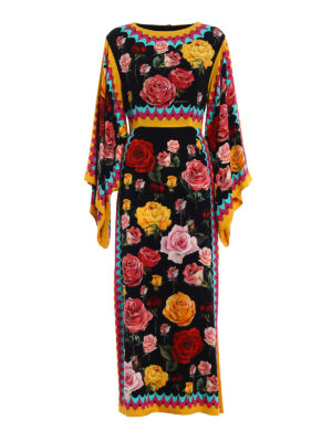 Dolce & Gabbana: evening dresses - Rose print silk charmeuse gown