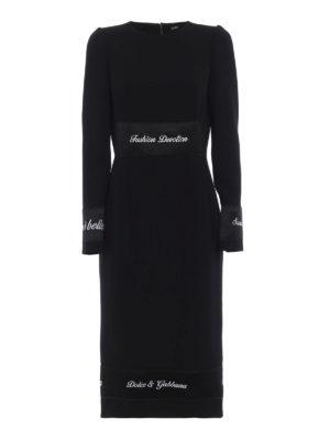 DOLCE & GABBANA: abiti da sera - Tubino in crepe di lana con bande in raso