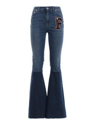 DOLCE & GABBANA: jeans a zampa - Jeans a zampa patchwork con patch F