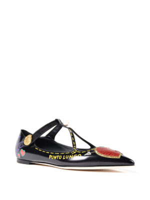 Dolce & Gabbana: flat shoes online - Leather flat shoes with patches