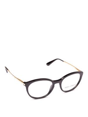 DOLCE & GABBANA: Occhiali - Occhiali da vista neri con aste dorate