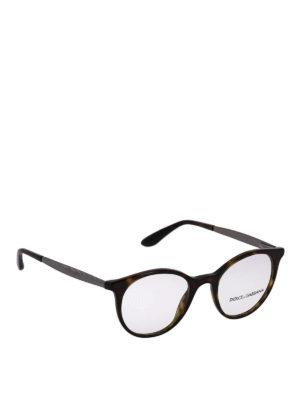 DOLCE & GABBANA: Occhiali - Occhiali da vista tartarugati con aste incise