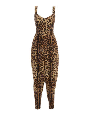 Dolce & Gabbana: jumpsuits - Leo print silk jumpsuit