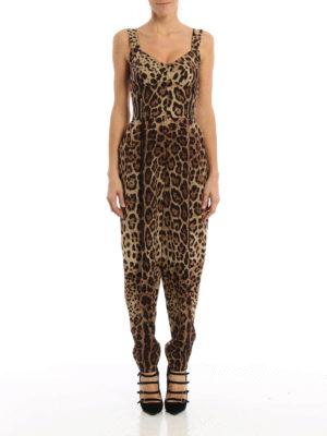 Dolce & Gabbana: jumpsuits online - Leo print silk jumpsuit