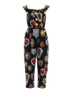 Dolce & Gabbana: jumpsuits - Sacred hearts print cotton jumpsuit