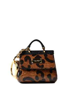 Dolce & Gabbana: key holders - Sicily leo print key holder