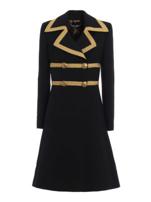 Dolce & Gabbana: knee length coats - Army style wool crepe coat