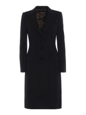 DOLCE & GABBANA: cappotti al ginocchio - Cappotto nero in morbido panno di lana