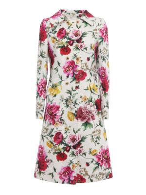 Dolce & Gabbana: knee length coats - Floral print damask coat