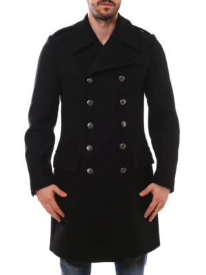 Dolce & Gabbana: knee length coats online - Army style wool coat