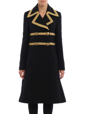 Dolce & Gabbana: knee length coats online - Army style wool crepe coat
