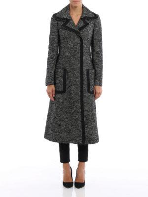 Dolce & Gabbana: knee length coats online - Trimmed grisaille coat