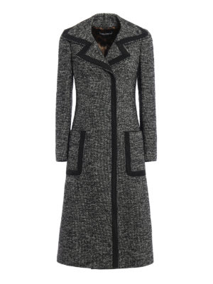 Dolce & Gabbana: knee length coats - Trimmed grisaille coat