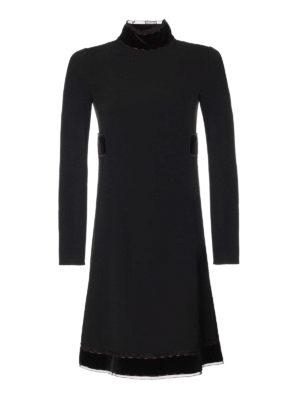 Dolce & Gabbana: knee length dresses - Crepe dress with velvet bands