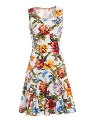 Dolce & Gabbana: knee length dresses - Flower print cotton drill dress