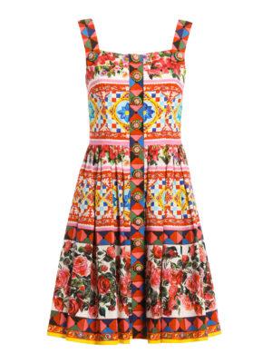 Dolce & Gabbana: knee length dresses - Mambo print cotton sleeveless dress