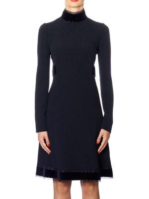 Dolce & Gabbana: knee length dresses online - Crepe dress with velvet bands