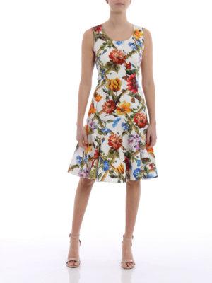 Dolce & Gabbana: knee length dresses online - Flower print cotton drill dress