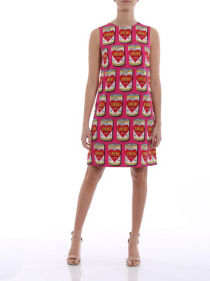 Dolce & Gabbana: knee length dresses online - Printed silk sheath dress