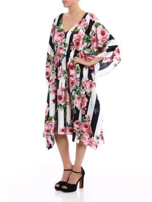 Dolce & Gabbana: knee length dresses online - Printed silk twill kimono dress