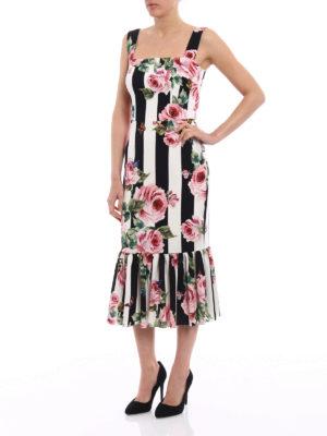 Dolce & Gabbana: knee length dresses online - Stretch silk roses print dress
