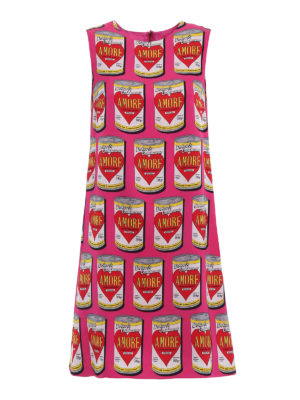 Dolce & Gabbana: knee length dresses - Printed silk sheath dress