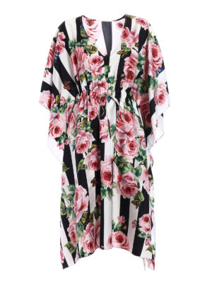 Dolce & Gabbana: knee length dresses - Printed silk twill kimono dress