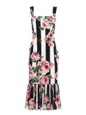 Dolce & Gabbana: knee length dresses - Stretch silk roses print dress