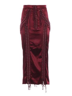DOLCE & GABBANA: gonne al ginocchio  e longuette - Gonna midi in raso con lacci stile corsetto