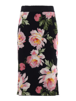 Dolce & Gabbana: Knee length skirts & Midi - Floral print silk charmeuse skirt