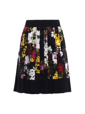 Dolce & Gabbana: Knee length skirts & Midi - Floral printed silk pleated skirt