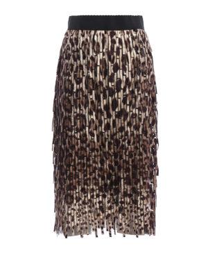 Dolce & Gabbana: Knee length skirts & Midi - Leo printed fringe midi skirt