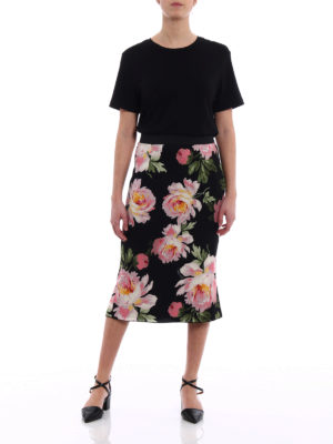 Dolce & Gabbana: Knee length skirts & Midi online - Floral print silk charmeuse skirt