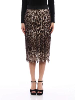 Dolce & Gabbana: Knee length skirts & Midi online - Leo printed fringe midi skirt