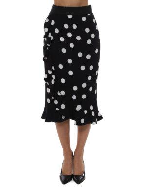 Dolce & Gabbana: Knee length skirts & Midi online - Polka dot silk midi skirt