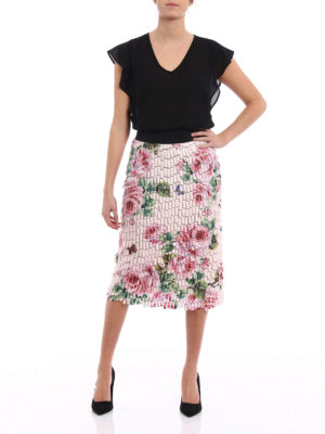 Dolce & Gabbana: Knee length skirts & Midi online - Roses pattern collage effect skirt