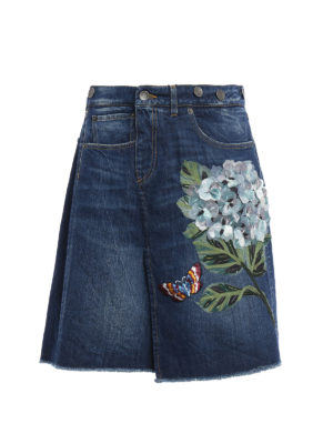 Dolce & Gabbana: Knee length skirts & Midi - Ortensia embroidery denim skirt