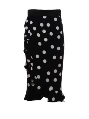 Dolce & Gabbana: Knee length skirts & Midi - Polka dot silk midi skirt